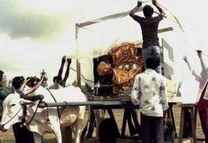 ISRO shifting satellites to launch pad on bullock cart